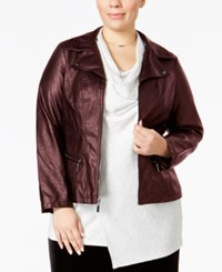 Alfani Plus Size Faux Leather Moto Jacket Only At Macy's New Wine