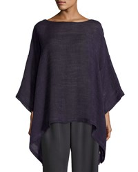 Eskandar Linen Blend 3 4 Sleeve Tunic Purple