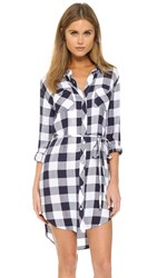 Rails Nadine Button Down Shirt Dress White Midnight Check