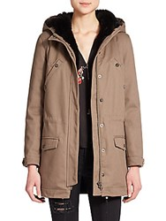 The Kooples Classic Fur Lined Parka Khaki