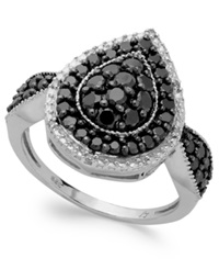 Macy's Sterling Silver Black 1 Ct. T.W. And White Diamond Accent Pear Shaped Ring