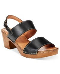 White Mountain Motor Block Heel Platform Sandals Women's Shoes Black