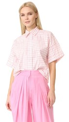 Vika Gazinskaya Short Sleeve Checked Blouse White Pink