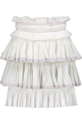 Isabel Marant Goya Tiered Woven Cotton Mini Skirt Off White