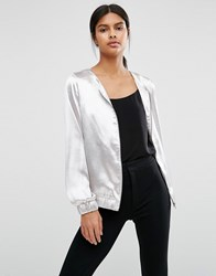 Vila Metallic Collarless Bomber Silver