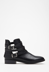 Forever 21 Strappy Faux Leather Booties Black