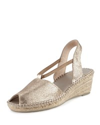 Andre Assous Zeena Crackled Suede Wedge Sandal Pewter Silver