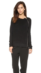Vince Leather Trim Textured Sweater Black
