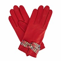Gizelle Renee Beth Red Leather Gloves With Shades Of Red Braided Barcode Liberty Tana Lawn