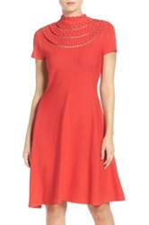Eliza J Cutout Fit And Flare Dress Red