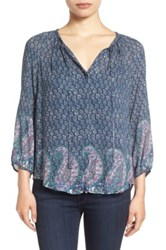 Lucky Brand Paisley Border Print Peasant Blouse Green