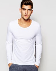 Asos Loungewear Muscle Long Sleeve T Shirt With Scoop Neck White