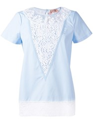 N 21 No21 Lace Panel T Shirt Blue