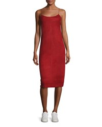 Theory Telson S Metises Suede Midi Dress Red
