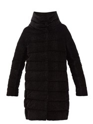 Herno Padded Down Filled Textured Velvet Coat Black