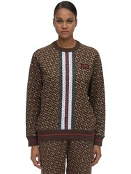 Burberry Tb Monogram Cotton Jersey Sweater Brown