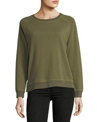Etienne Marcel Natalie French Terry Side Zip Sweatshirt W Floral Embroidery Green