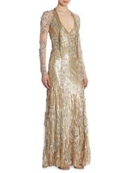 Jenny Packham Sequin Beaded Gown Gold White
