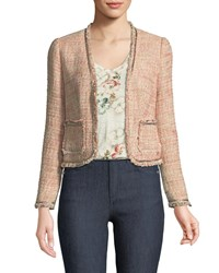 Rebecca Taylor Open Front Collarless Tweed Jacket Rose
