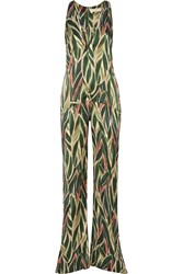 Adriana Degreas Araruta Cutout Printed Silk Satin Jumpsuit