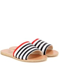 Ancient Greek Sandals Taygete Stripes Leather Sandals White