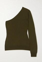Tom Ford One Sleeve Cashmere And Silk Blend Sweater Army Green
