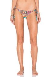 Luli Fama Wild And Free Ruched Bikini Bottom Orange