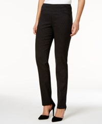 Charter Club Jacquard Pull On Pants Only At Macy's Deep Black Combo