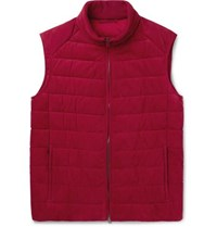Brioni Quilted Nubuck Gilet Red