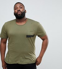 Religion Plus T Shirt With Stepped Hem And Stripe Pocket Green