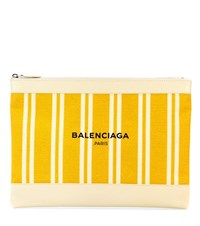 Balenciaga Navy Canvas And Leather Clutch Yellow