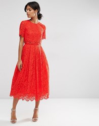 Asos Lace Crop Top Midi Prom Dress Red