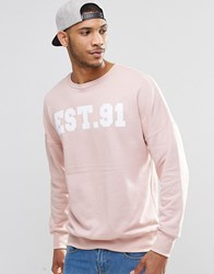 Pull And Bear Sweatshirt In Dusky Pink With Logo Pink
