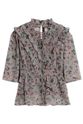 W118 By Walter Baker Danielle Lace Up Floral Print Georgette Blouse Gray