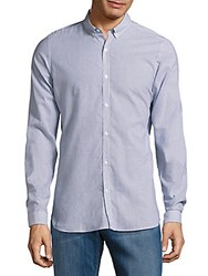 The Kooples Cotton Blend Striped Casual Shirt Blue
