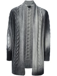 Avant Toi Long Cable Knit Cardigan Grey