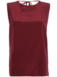 Kacey Devlin Exposed Shoulder Blade Top Silk Red