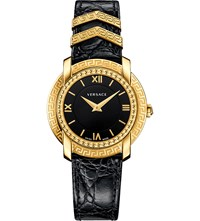 Versace Vam030016 Dv25 Round Gold Plated And Leather Watch Stainless Steel