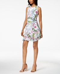 Robbie Bee Petite Ruffled Floral A Line Dress White Pink