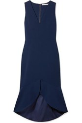 Alice Olivia Blakesley Ruffled Crepe Dress Navy