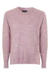 Topshop Pointelle Rib Cosy Crew Jumper Lilac