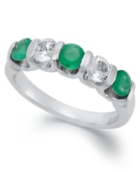 Macy's Sterling Silver Ring Emerald And White Sapphire Channel Set Band 1 1 3 Ct. T.W. Green