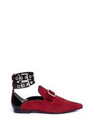 Robert Clergerie X Self Portrait 'Lolli' Eyelet Ankle Strap Suede Loafers Red