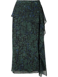 Jason Wu Draped Ruffle Skirt Green