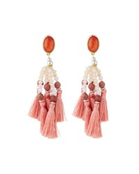 Nakamol Beaded Tassel Drop Earrings Pink