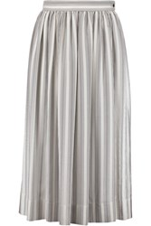 Temperley London Mitka Striped Silk Satin Skirt Gray