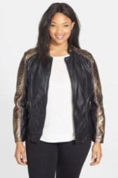 Live A Little Faux Fur Lined Leopard Print Faux Leather Jacket Plus Size Metallic