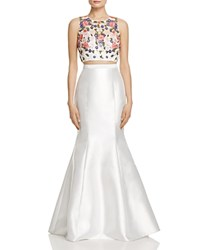 Avery G Embellished Bodice Two Piece Gown Muti White