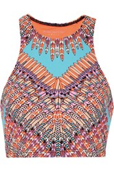 Mara Hoffman Printed Neon Stretch Jersey Top Orange