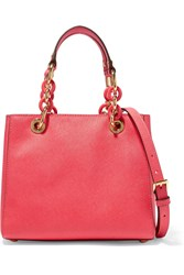 Michael Michael Kors Cynthia Small Textured Leather Tote Coral